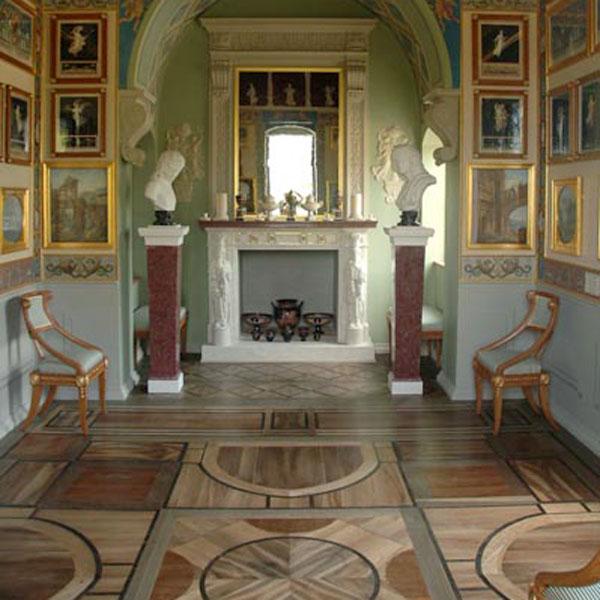Marketerieboden im Kaminzimmer der Villa Hamilton 1793_Raum